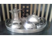 Arts & Crafts period Pewter teaset and tray