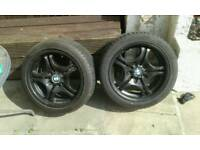 X4 bmw mk3 17 inch black alloys with tyres