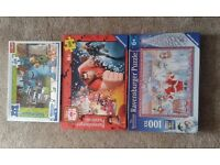 3 Childrens 500 piece jigsaws, The Snowman, Wreck it Ralph and Monsters University.