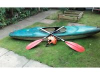 Canoe. Double paddle. Safety helmet. Fibreglass canoe gd condition