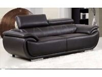 Brand New Brown Real Leather 3 Seater Sofa Settee reclining headrests FAST LOCAL DELIVERY