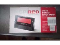 """LARGE DISPLAY CLOCK RADIO ALARM 12""""x 6"""".UNWANTED GIFT 'INSPIRED LISTENING'. COLLECTION REDDITCH B98."""