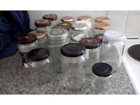 APPROX 20 USED JAM/CONDIMENT JARS FOR PICKLING- JAM MAKING-CHRISTMAS CRAFTS