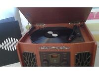 Vintage Turntable Record player suitable for Records, CD's and cassettes