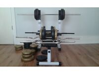 FOLDABLE BENCH PRESS + 100KG WEIGHTS+ BARS