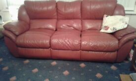 Lovely red 3 PIECE LEATHER SUITE