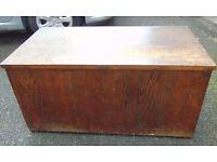 large dark oak edwardian trunk blanket box