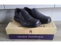 Black Leather Hush Puppies Uk Size 6 Slip on design Still current Line .Worn Once