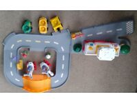Fisher price little people airport, with helicopter, taxi, tow truck, tractor and four little people