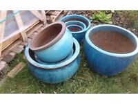 7 mixed sizes blue/green ceramic flower pots