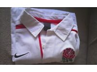 "England Rugby Shirt Long Sleeved Nike Large L 42/44"" Traditional Style Rugby Shirt"
