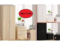 Venice Bedroom Set Wardrobe, Chest Of Drawers, Bedside. Black, White Or Oak
