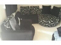 Sofa with chaise and chair plus footstool