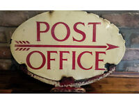 Original Post Box Double Sided Post Office Enamel Sign - Not a reproduction