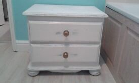 chest of drawers solid pine old brass handles painted old white over gray