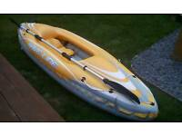 Inflatable kayak, oars, pump and bouyancy jacket