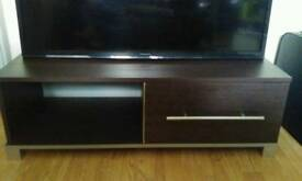 Dark wood tv cabnet unit with draw