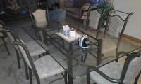 6 CHAIRS GLASS TOP DINING TABLE SET OBO
