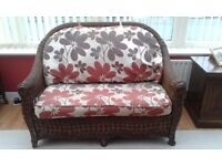 Two seater sofa and two chairs, dark wicker conservatory furniture