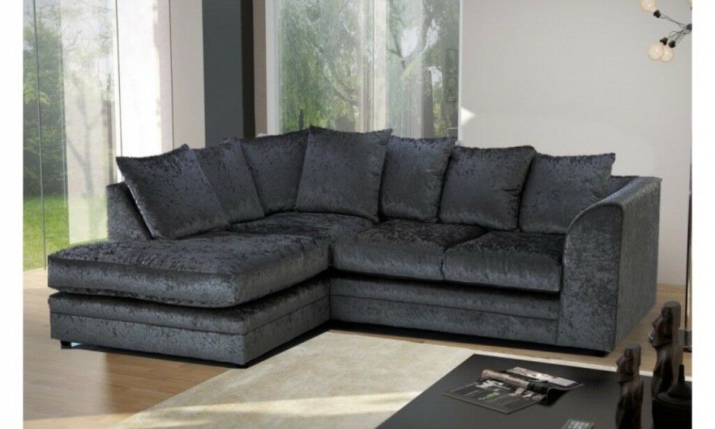 Brand New Black Crushed Velvet Fabric Corner Sofa Settee