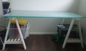 Office desk with 2 glass tops and easel legs