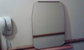 Vintage rectangle mirror, mainly rimless, 48cm by 65cm, in good vintage condition