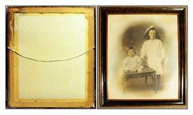 A Victorian,Framed Sepia and Hand-Tinted Family Photograph of Two Children