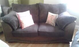 2 seater sofa dark brown fabric and faux suede