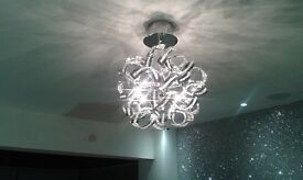 Modern Chrome & Crystals Ceiling Light