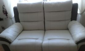 2x 2 seater leather white and grey recliner sofas
