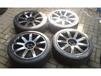GENUINE AUDI TT ALLOY WHEELS 5 X 100 GOLF MK4 A3 8l A1 A2 SEAT IBIZA GOOD TYRES 225 40 18