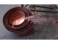 set of 5 vintage copper pans with stand
