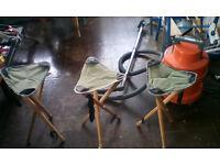 3x three legged Camping Stools