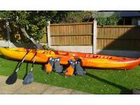 Sit on top Kayak with paddles and bouyancy aids