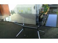 garden dining kitchen 6 -8 seater rectangular black glass top table 158 x 92 cm