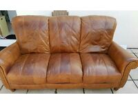 Hyde Tan Leather 3 seater 2 chairs and Pouffe