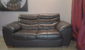 Brown leather 2/3 seater sofa - excellent condition