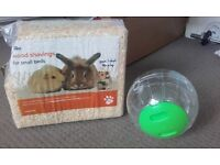 Hamster treat toy, sawdust and exercise ball