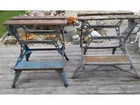2 X VINTAGE BLACK AND DECKER WORKMATES EARLY ALUMINIUM AND ONE OTHER SLIGHTLY LATER OPERABLE