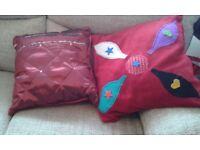 New handmade red velvet or silk cushions