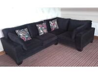 Lovely black cornersofa chenelli cushions bought out of next excellent condition like new £280