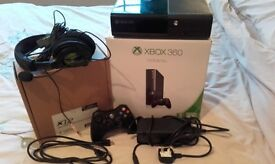 Xbox 360, controller, Turtle Beach headset, plus HD/power cables