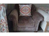 Armchair: large nearly new brown velvet armchair