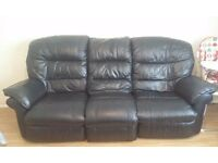 3 seater black leather recliner, armchair and pouffe