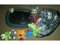 Baby car seat mirror, car seat raincover and car seat play toys