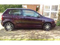 VW Polo 1.4 3-door 2002 reg. Aubergine red. Petrol. 154,780 miles Test til end June