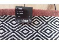 Habitat 'Lucas' wool flatweave rug 140x200cm NEW with tags, black white geometric