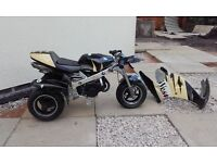 pocket motor bike trike, runs well, back brake not working all bits there, good condition