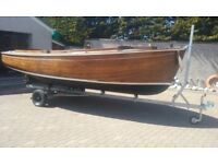 17' CARVEL TEAK OPEN CLASSIC COME FISHING BOAT YANMAR DIESEL, ROAD TRAILER £3750