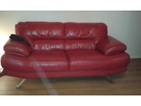 lovely red leather 2 & 3 seater lovely condition too big for living room would swap